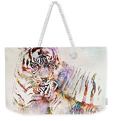 Tiger With Cub Watercolor Weekender Tote Bag by Marian Voicu