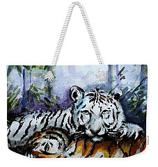 Weekender Tote Bag featuring the painting Tigers-mother And Child by Harsh Malik