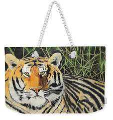 Weekender Tote Bag featuring the painting Tigress by Jeanne Fischer