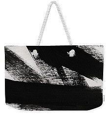 Timber 2- Horizontal Abstract Black And White Painting Weekender Tote Bag