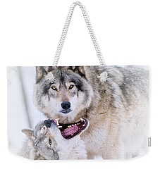 Timber Wolf Pictures 56 Weekender Tote Bag by Wolves Only
