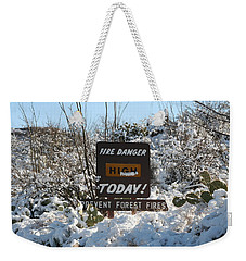 Weekender Tote Bag featuring the photograph Time To Change The Sign by David S Reynolds