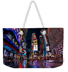 Times Square New York City The City That Never Sleeps Weekender Tote Bag by Susan Candelario