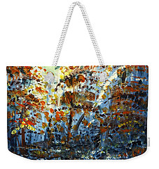 Weekender Tote Bag featuring the painting Tim's Autumn Trees by Holly Carmichael