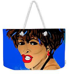 Tina Turner Fierce Blue Impression Weekender Tote Bag by Saundra Myles