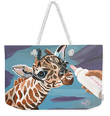 Tiny Baby Giraffe With Bottle Weekender Tote Bag by Phyllis Kaltenbach