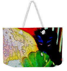 Weekender Tote Bag featuring the painting Tiny Black Kitten by Lisa Kaiser