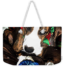 Weekender Tote Bag featuring the photograph 'tis Better To Receive by Robert McCubbin