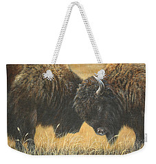 Weekender Tote Bag featuring the painting Titans Of The Plains by Kim Lockman