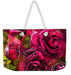 Weekender Tote Bag featuring the mixed media To Be Loved - Red Rose by Carol Cavalaris