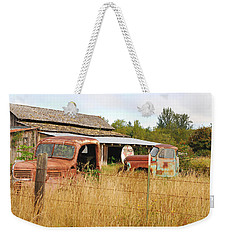 To Everything There Is A Season. Rusty Old Trucks And A Barn Weekender Tote Bag by Connie Fox