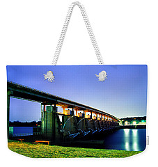 Toad Suck Dam At Night Weekender Tote Bag by Jason Politte
