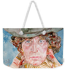 Tom Baker Doctor Who Watercolor Portrait Weekender Tote Bag by Fabrizio Cassetta