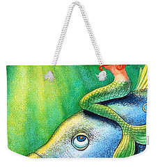 Weekender Tote Bag featuring the painting Toot Your Own Seashell Mermaid by Sue Halstenberg