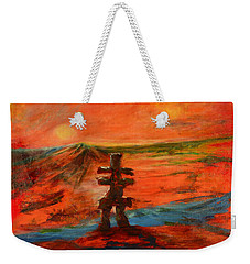Weekender Tote Bag featuring the painting Top Of The World by Sher Nasser