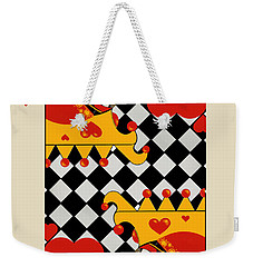 Weekender Tote Bag featuring the painting Topsy-turvy Queen by Carol Jacobs