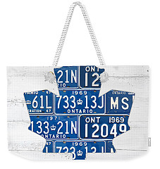 Toronto Maple Leafs Hockey Team Retro Logo Vintage Recycled Ontario Canada License Plate Art Weekender Tote Bag by Design Turnpike