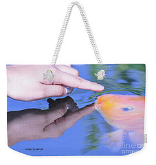 Touching The Koi.  Weekender Tote Bag by Debby Pueschel