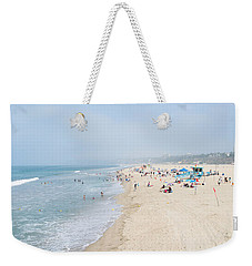 Tourists On The Beach, Santa Monica Weekender Tote Bag by Panoramic Images