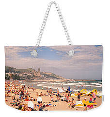 Tourists On The Beach, Sitges, Spain Weekender Tote Bag by Panoramic Images
