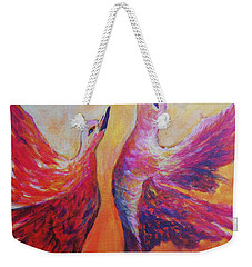 Weekender Tote Bag featuring the painting Towards Heaven by Sher Nasser