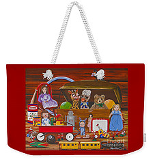 Weekender Tote Bag featuring the painting Toys In The Attic by Jennifer Lake