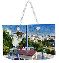 Traditional Tavern In Ios Town Weekender Tote Bag