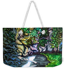 Weekender Tote Bag featuring the painting Trail To Broke-off by Lil Taylor