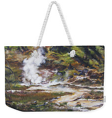 Trail To The Artists Paint Pots - Yellowstone Weekender Tote Bag by Lori Brackett