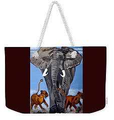 Weekender Tote Bag featuring the painting Trampling Elephant by Nora Shepley