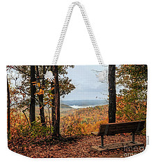 Weekender Tote Bag featuring the photograph Tranquility Bench In Great Smoky Mountains by Debbie Green