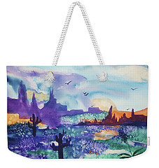 Weekender Tote Bag featuring the painting Tranquility II by Ellen Levinson