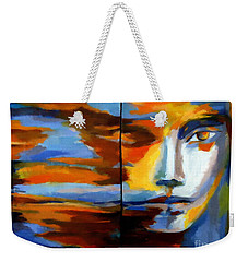 Weekender Tote Bag featuring the painting Transition - Diptic by Helena Wierzbicki