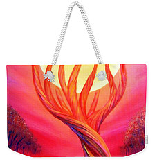 Weekender Tote Bag featuring the painting Trapped Moon by Lilia D