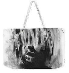 Weekender Tote Bag featuring the drawing Gaza Trauma by Paul Davenport