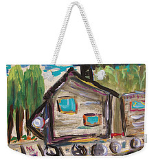 Weekender Tote Bag featuring the painting Traveling Through The Wilderness by Mary Carol Williams
