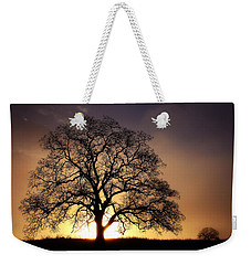 Tree At Sunrise In The Fog Weekender Tote Bag