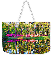 Tree Reflections And Pink Flowers By The Blue Water By Jan Marvin Studios Weekender Tote Bag