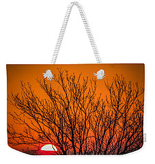 Tree Silhouetted By Irish Sunrise Weekender Tote Bag