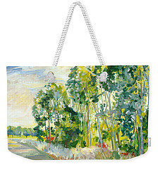 Trees By A Road Weekender Tote Bag
