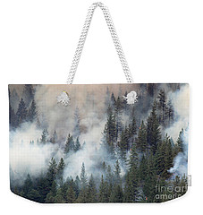 Beaver Fire Trees Swimming In Smoke Weekender Tote Bag