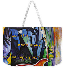 Weekender Tote Bag featuring the painting Trey Anastasio And Antelope Lryics by Joshua Morton