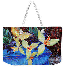 Weekender Tote Bag featuring the painting Triangular Blossom by Xueling Zou