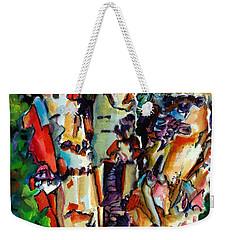 Weekender Tote Bag featuring the painting Trio Birch 2014 by Kathy Braud