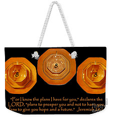 Triple Eight Octagon Saucers With Jeremiah Twenty Nine Eleven On Black Weekender Tote Bag by Heather Kirk