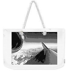 Weekender Tote Bag featuring the photograph Red White Black An White Blue An White Jet Pop Art Planes. by R Muirhead Art