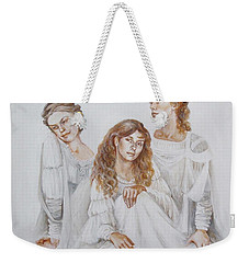 Weekender Tote Bag featuring the painting Trois by Marina Gnetetsky