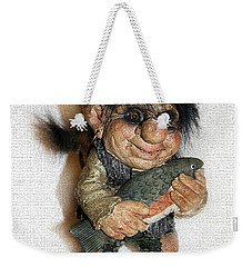 Weekender Tote Bag featuring the sculpture Troll Fisherman by Sergey Lukashin
