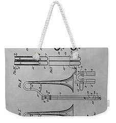 Trombone Patent Drawing Weekender Tote Bag by Dan Sproul