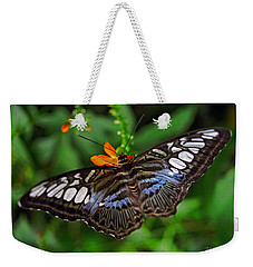 Weekender Tote Bag featuring the photograph Tropical Butterfly by Marie Hicks